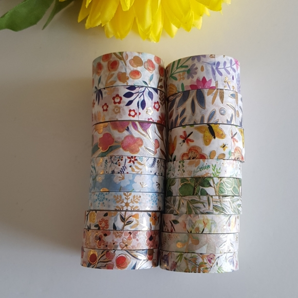NEW 18 Rolls Washi Tape with Gold Foil